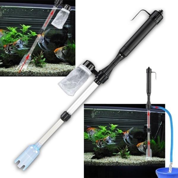 Aspirateur a piles pour nettoyage gravier fond aquarium for Aspirateur aquarium