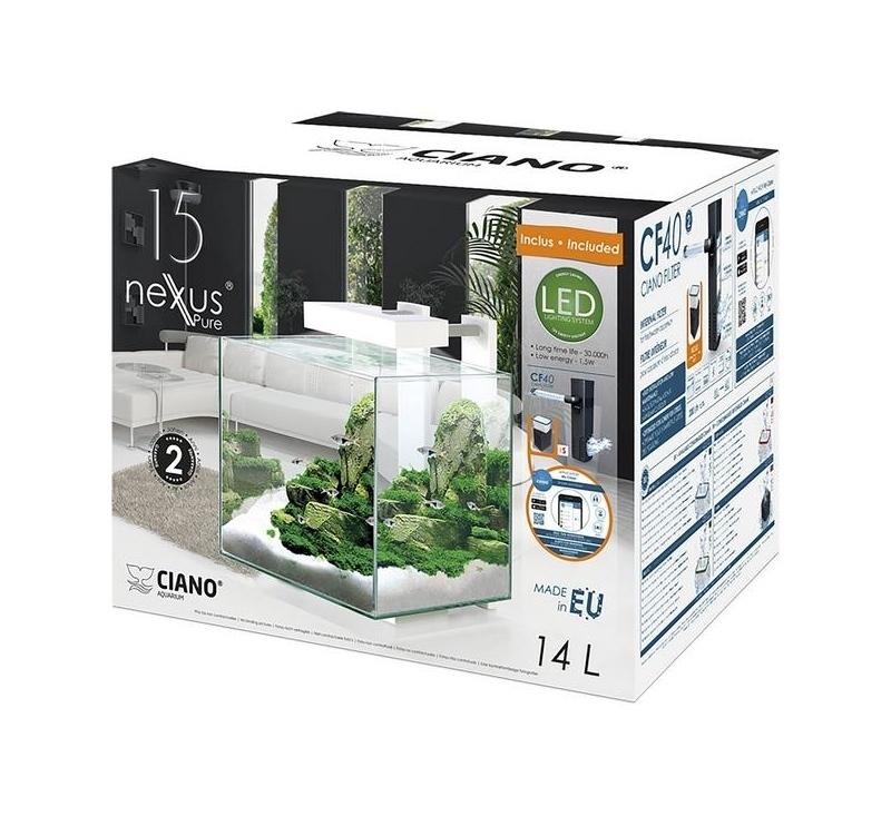 aquarium nano ciano nexus pure cube 15 led shop suisse. Black Bedroom Furniture Sets. Home Design Ideas